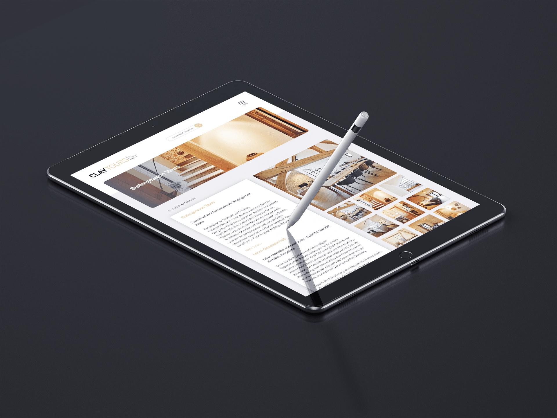 Claytours Webseite iPad
